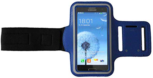 Sport-Armband Wasserfest Fitness-Tasche für Samsung Galaxy A41, A51, A60, A90, M20 Fitness Lauf-hülle Arm-Tasche Kopfhöreranschluss Blank Groß Dunkel-Blau