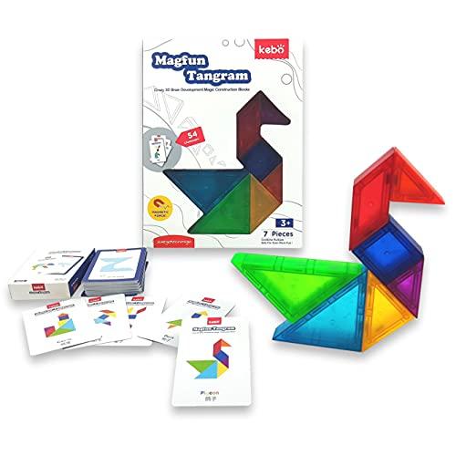 KEBO Tangram Magnético 3D. Juego Educativo, Rompecabezas con 7 Bloques de construcción y 54 retos a Conseguir. (Magfun)