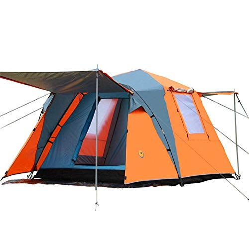 PN-Braes Family Tent 210T Silver Coated Cloth Outdoor 3-4 People Automatic Tent Camping Hiking Waterproof Double Layer Canopy Family Tent With Storage Bag Pop-Up Tents