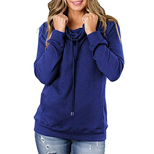 Hoodies Women Elegant Long-Sleeved Solid Color Classics Ladies High Neck Hoody Pullover Casual Loose Drawstring Pockets Sweatshirt Autumn Winter New Sport Business Top XL