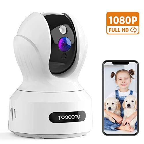 Topcony Cámara de Vigilancia WiFi Interior,1080P Cámara Seguvidad, Cámara IP para Bebé y Mascotas con Visión Nocturna Detección de Movimiento Intercomunicación Compatible con Alexa
