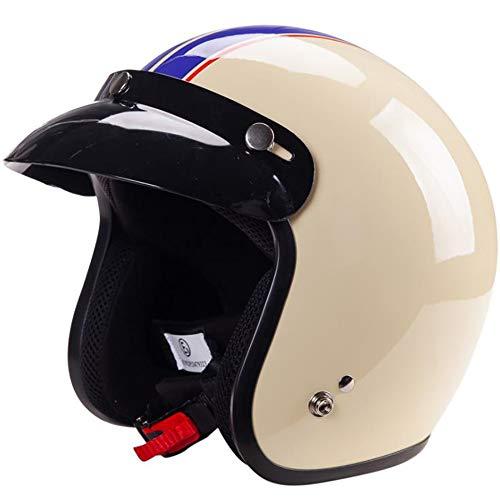 ZXH Open Face Retro Motorcycle Helmet, 3/4 Adult Motorcycle Helmet DOT Certification Motocross Helmet, Men and Women Best Bike Scooter Helmet,XL