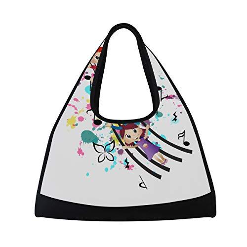 NISENASU Sporttasche,Glückliche Kindermusik,Neue Sport Reisetaschen Tennisschläger Rucksack Badminton Kurze Reisetaschen tragbare Umhängetasche (20×6.7×18.5 inch)