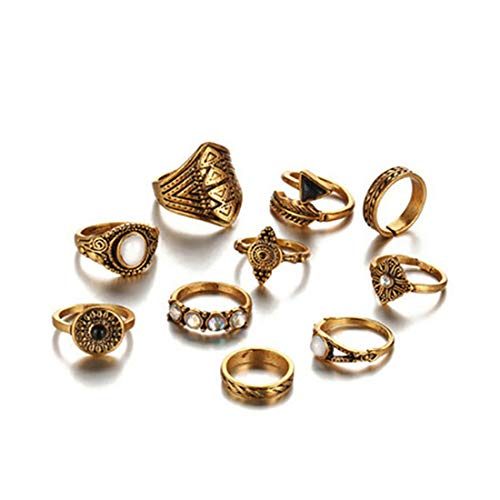 Ivyday 10pcs Boho Style Vintage Punk Rings Set for Women Opal Gemstone Joint Knuckle Ring Set,gold