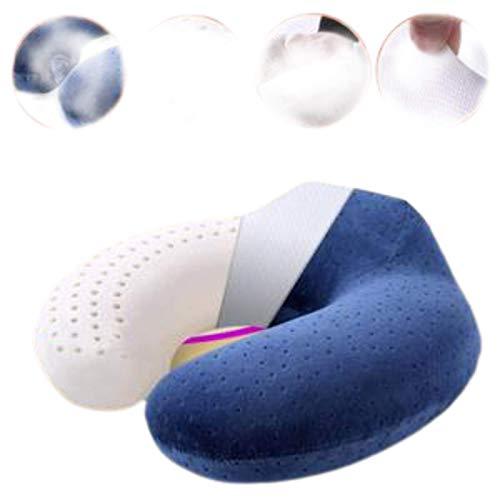 N-B Almohada cervical de látex en forma de U portátil para coche avión u almohada
