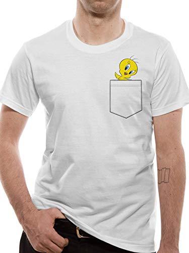 T-Shirt (Unisex-Xl) Tweety Pocket (White)