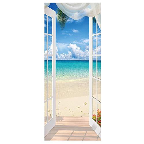 Dravem - Adhesivo decorativo 3D para puerta, diseño de ojo moderno de la vista del mar creativa, autoadhesivo, póster de PVC, para puerta, cocina, salón, dormitorio, cuarto de baño, 77 x 200 cm