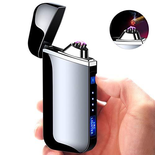 Achort Mechero Electrico, Encendedor Electrico de Doble Arco sin Llama - Mechero Recargable Resistente al Viento (Acampada) con Cable USB, Mechero de Plasma sin Gas Negro