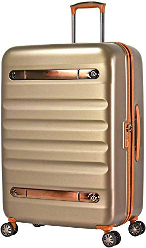 Golden Nostalgic Style Hard Suitcase, Polycarbonate 4 Silent Two-Wheeled Telescopic Handle,Gold-L (77cm 103L)