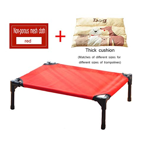 ZXQZ Trampolin, Kühlung, erhöhtes Hundebett, tragbares erhöhtes Haustierbett mit waschbarem und atmungsaktivem Netzgewebe, rutschfeste Gummifüße, Fitness-Trampolin, Stil 2, 122x91cm