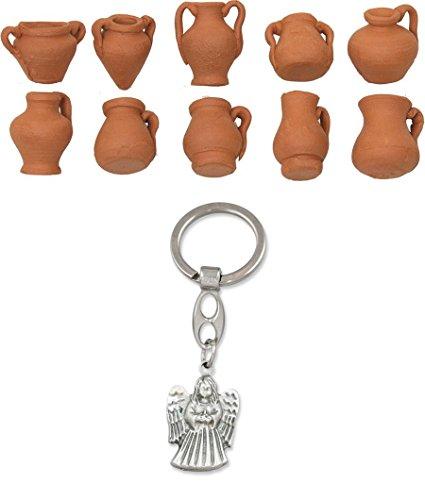 Unbekannt Krippenzubehör, Krüge Amphoren 10er Set klein Höhe ca. 1,8cm mit Schlüsselanhänger Engel stehend