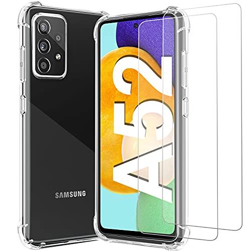 Shock-Absortion - Carcasa y cristal templado para Samsung A52 5G/A52, carcasa transparente + 2 packs de protector de pantalla de cristal templado para A52 5G / A52 de 6,5 pulgadas (2021)