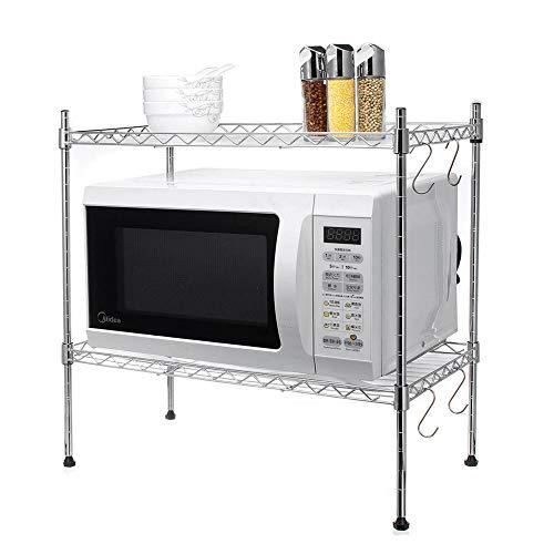 Subobo Estante de almacenamiento de metal para horno de microondas, organizador de cocina, estante de horno de microondas, ajustable, estante de almacenamiento multifuncional