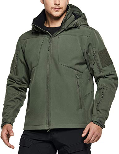 CQR Men's Winter Tactical Military Jackets, Lightweight Waterproof Fleece Lined Softshell Hunting Jacket w Hoodie, Operator Multipocket(hok803) - Olive, Large