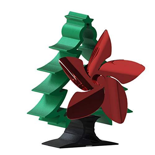 Shenykan Ventilador de Chimenea de árbol de Navidad Simple y portátil de Estilo Europeo Ventilador de 5 aspas Ahorro de energía impulsado por energía térmica - Rojo + Verde