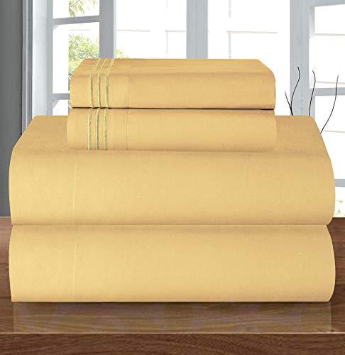Elegant Comfort Juego de sábanas de Lujo Suave de 1500 Hilos, Calidad egipcia, 3 Piezas, Resistente a Las Arrugas y a la decoloración, Bolsillo Profundo, Microfibra, Camello-Oro, Matrimonio