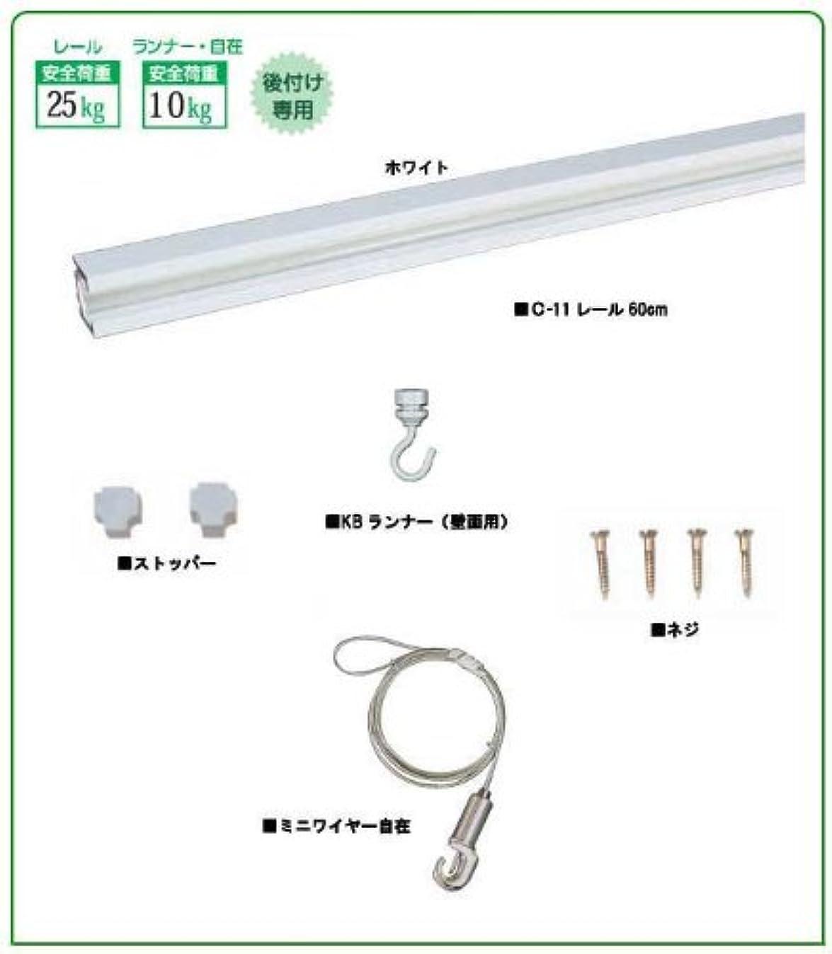 便利さ迅速手段福井金属工芸 額を飾るのに便利 C-11型レールセット 600mm ホワイト 天井用 3351-W-1