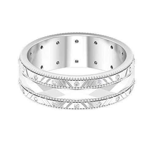 Anillo de boda ancho, milgrain, anillo de diamante redondo HI-SI, anillo de aniversario único, anillo art decó, día de la madre, joyería nupcial, 14K Oro blanco, Size:EU 62