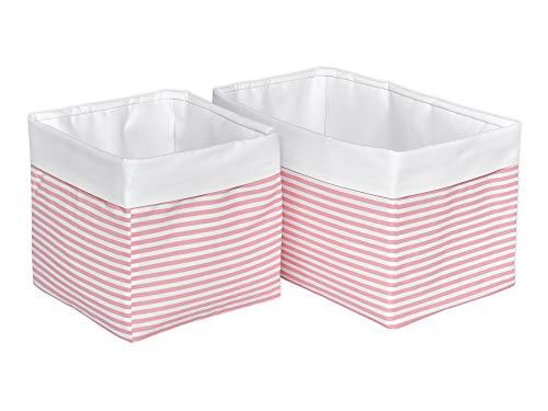 KraftKids Stoff-Körbchen in Uniweiss Streifen rosa, Aufbewahrungskorb für Kinderzimmer, Aufbewahrungsbox fürs Bad, Größe 20 x 20 x 20 cm