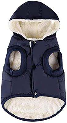 Komate Warm Winter Dog Jacket Coat Fleece Lined Thick Coat Vest Cloth for Small Medium Large Dogs with Easy to Use Snap On Buttons (XS (Chest Size 32cm), Blue)