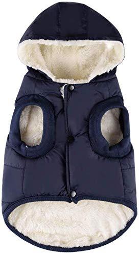Komate Chaqueta de Invierno cálido para Perros Abrigo Grueso de Invierno Chaleco de Tela para Perros pequeños medianos Grandes (S (tamaño del Pecho 40 cm), Azul)