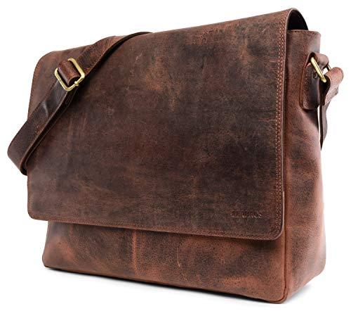 LEABAGS Oxford Umhängetasche Leder Laptoptasche 15 Zoll aus echtem Büffel-Leder im Vintage Look, (LxBxH): ca. 38x10x31 cm - Braun Meets Rot