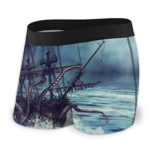 GLGFashion Escena Nocturna con Ropa Interior Masculina de Pulpo de Barco Pirata Calzoncillos bóxer Sin baúles de Tiro bajo S-XXL