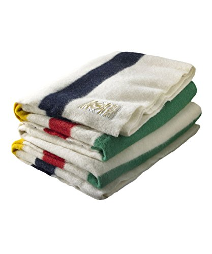 Woolrich 90 by 100-Inch Hudson Bay 6 Point Blanket, Natural with Multi Stripes