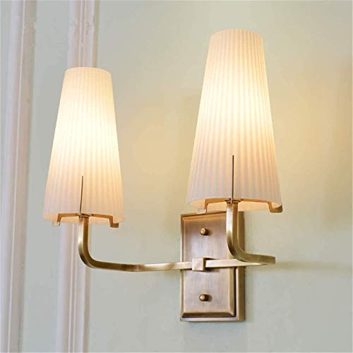 Lámparas de pared industriales, Luces de pared interior vintage americano nórdico simplicidad doble cabeza e14 iluminación iluminación arte diseño plisado vidrio lámpara lámpara de pared de latón comp