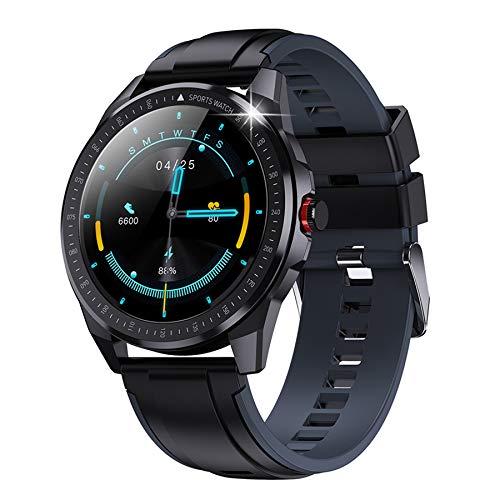 JUSUTEK Reloj inteligente 2021: reloj inteligente con pantalla táctil completa IP68, resistente al agua, con monitor de ritmo cardíaco y sueño, reloj deportivo para Android iOS (gris)