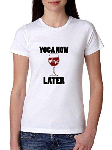 Trendy Yoga Nu Wijn Later Oefening en Drinken Vrouwen Katoen T-Shirt
