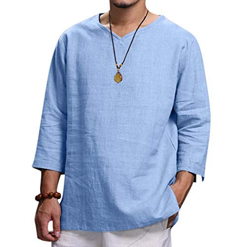 Yuinb Herren-T-Shirt, Oberteil aus Hanf, mit 3/4-Ärmel, Farbe Pure Bluse, komfortabel, hochwertig, aus Baumwolle Gr. M, blau