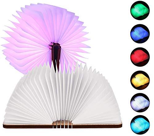 Saillnovo Mini Libro Luz LED, 7 Colores Cambian LED luz Lectura Lámpara...