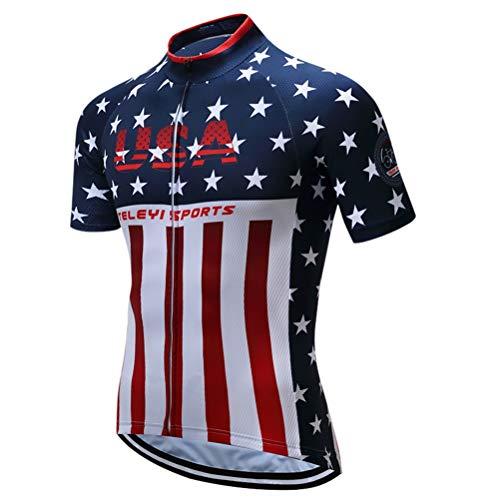 Shenshan Men's USA Style Bike Jersey Sports Tops Cycling Clothing Blue-White Size L