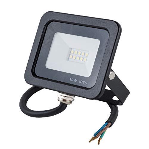 POPP® juegos de 5 y 10 Floodlight Led Foco Proyector Led 10w 20w 30w para Exterior Iluminación Decoración 6000k luz fria Impermeable IP65 Negro y Resistente al agua. (Focos 10 Watios, 1 unidad)