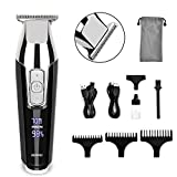 Hair Clippers for Men, RENPHO Professional Cordless Clippers Kit Electric for Barbers Hair Cutting, Hair and Beard T-blade Trimmer for Home, 4-Speed Motor, Precise Length Settings, Lightweight