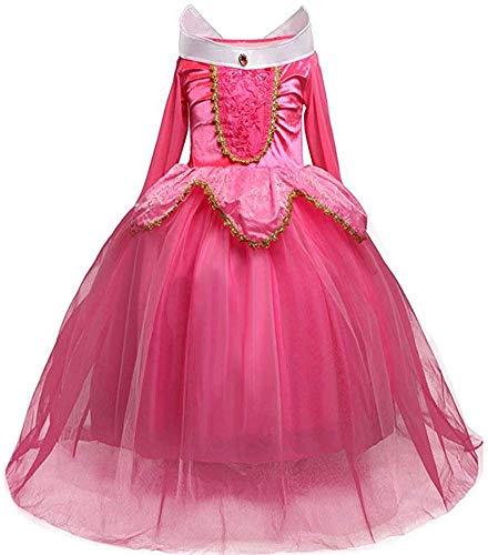 Afittel0 Vestido Princesa, Niña ' Princesa Bella Disfraces Princesa Disfraz, Niña Aurora Bella Durmiente Disfraz Halloween Vestido Cosplay Vestido - 1#, 110cm