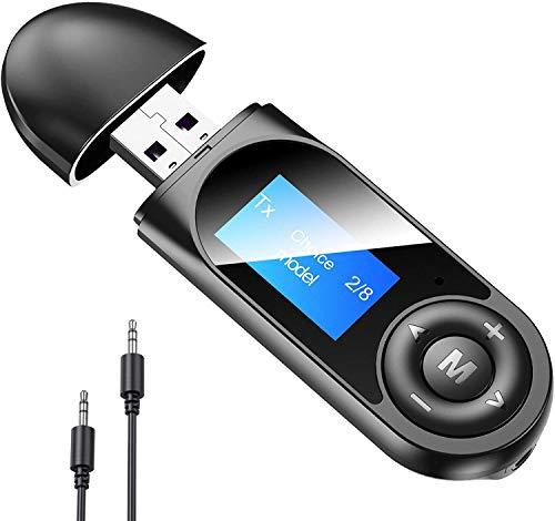 PECHTY USB Bluetooth Adapter, Bluetooth 5.0 Transmitter PC TV Autoradio 3 in 1 Dongle, Bluetooth Stick Kompatibel Mit Windows 10/8.1/8/7/XP/Vista/TV, Plug & Play Modell