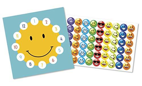 By Diana Belohnungstafel für Kinder Belohnungssystem mit Motiv Smiley - 2 doppelseitig Bedruckte Kärtchen + große Aufkleber mit lustigen Smileymotiven