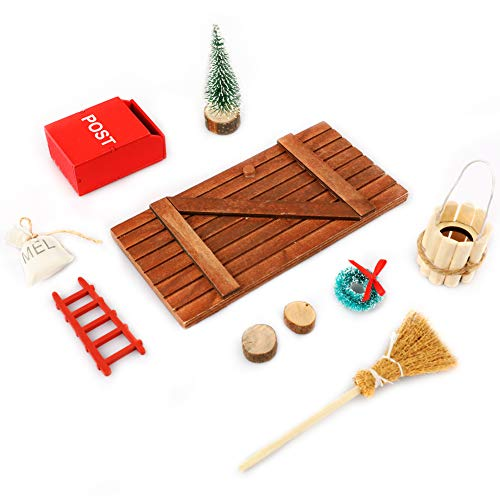 Deko dänische Wichtel Tür Wichteltür Miniatur Wichtel Set Wichtel Tür Nissedor mit Zubehör Stiefel Laterne Weihnachtsbaum Dekokranz Holzleiter
