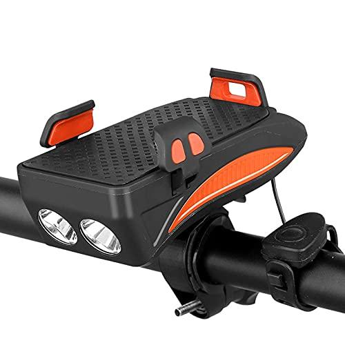 Luces de Bicicleta, 4 en 1 Luz de Bicicleta USB Impermeable Recargable con Soporte telefónico, Bicicleta Bell y Potencia móvil para Hombres Mujeres Niños Carretera Ciclismo,Naranja