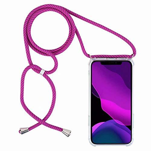 2ndSpring Handykette Schutzhülle kompatibel mit Oppo Find X2 Neo Handyhülle mit Band,Halsband Lanyard Silikonhülle,Violett