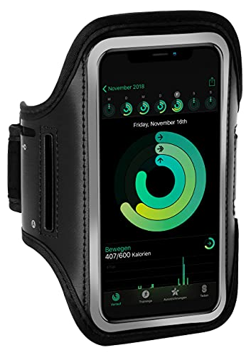 ONEFLOW Sportarmband Handy kompatibel mit Samsung Galaxy A50 / A30s Armtasche Fitness Armband Sport Laufarmband Outdoor Handyhülle Joggen Arm Halterung Smartphone Handytasche, Schwarz