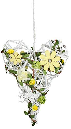 dekojohnson Rattan-Herz Fenster-Deko hängend Holz Landhaus Hänger Tür-Kranz aufhängen gelb Weiss Fensterdeko 20cm Groß Frühjahr