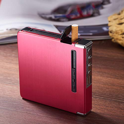 HEKQ Caja De Cigarrillos con Encendedor Eléctrico Recargable USB para Cigarrillos De...