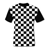 Men's T-Shirts Black & White Checkerboard Squares 3D Floral Print T-Shirt Comfy Casual Tops for Men Tees M