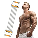 TOCO FREIDO Chest Expander, 5 Tubes Ajustable Arm Strength Trainer, Exercise Resistance Bands for Home Fitness Muscle Training