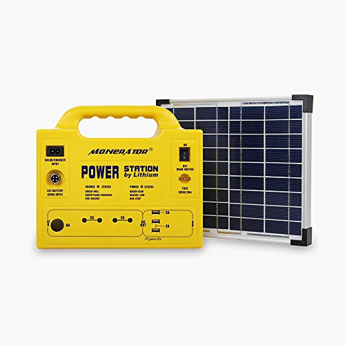 monerator Portable Generator Power Station 128 Wh Rechargeable Solar Generator Lithium Ion Phosphate (LiFePO4) Battery with Solar Panel 12V DC/110V AC for Camping Fishing Earthquake Emergency
