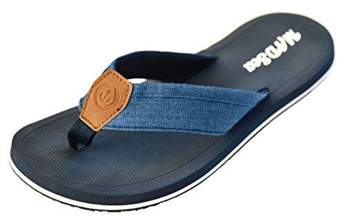 MADSea Damen Herren Zehenstegpantolette Marina Zehentrenner Sandale, Größe:43 EU, Farbe:dunkelblau/Multi
