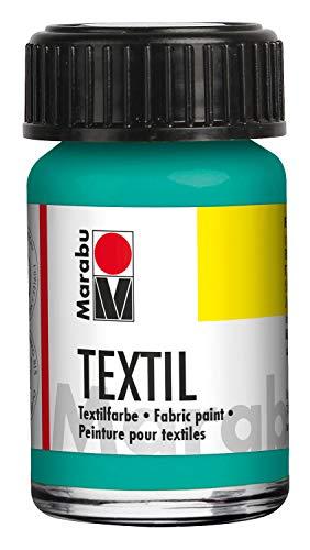 Marabu 17160039297 - Pintura textil para tela (15 ml, a base de agua, para tejidos claros, lavable hasta 60 °C, tacto suave, fijación fácil mediante planchado o horno), color verde aguamarina
